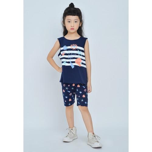 Bộ đồ bé gái sát nách quần họa tiết, áo kẻ - BG905
