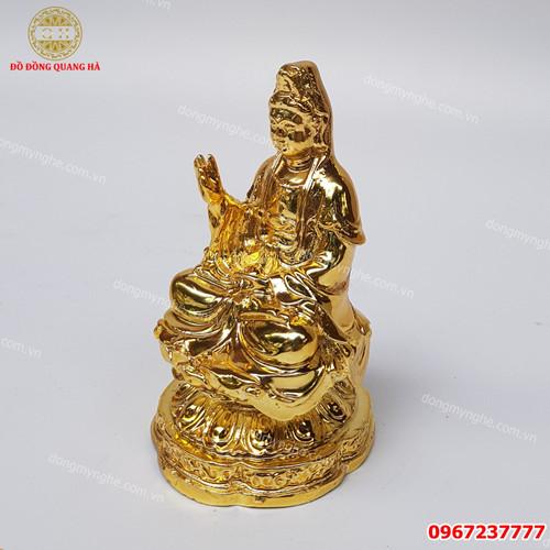 Tượng Phật Bà Quan Âm Bồ Tát  cao 11cm bằng đồng ma vang 24k - Phụ Kiện Trang Trí Ô Tô