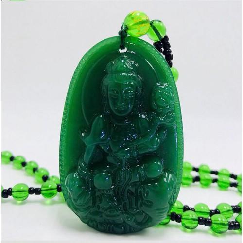 Dây chuyền Phật bản mệnh tuổi Thìn, Tỵ  - Vòng cổ Phật Phổ Hiền Bồ Tát - Xanh Lục