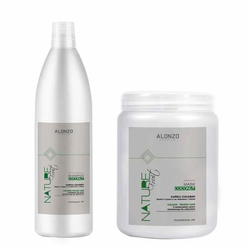 Combo dầu gội Alonzo Nature tinh dầu dừa 1000ml và Kem hấp 1000m