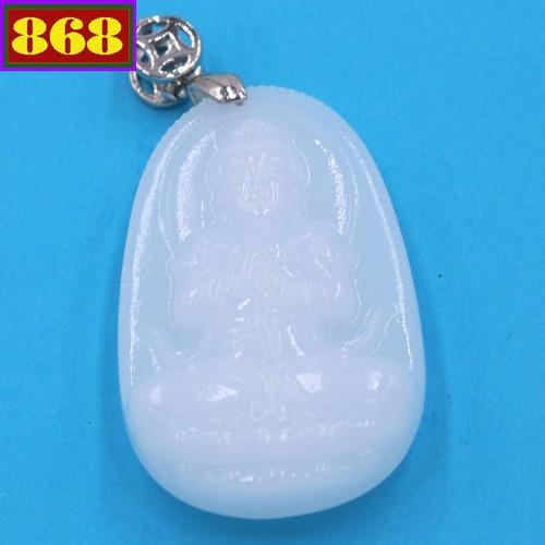 Mặt dây chuyền Phật Như Lai Đại Nhật thạch anh trắng 4.3cm - Phật bản mệnh tuổi Mùi, Thân