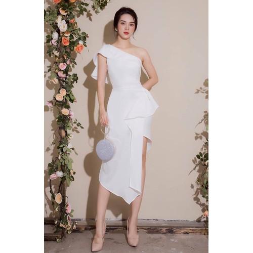 Đầm ôm body dài kiểu chéo vai xẻ tà