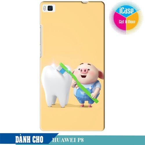 Ốp lưng nhựa cứng nhám dành cho Huawei P8 in hình Heo Con Đánh Răng