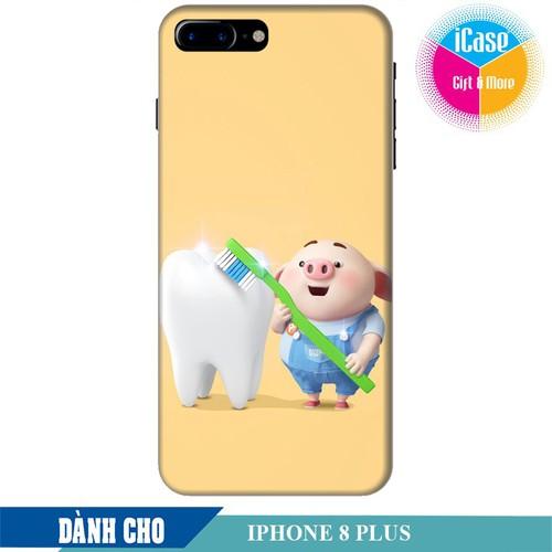 Ốp lưng nhựa cứng nhám dành cho iPhone 8 Plus in hình Heo Con Đánh Răng