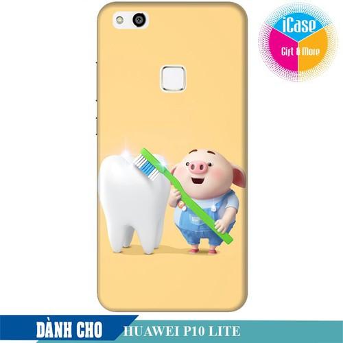 Ốp lưng nhựa cứng nhám dành cho Huawei P10 Lite in hình Heo Con Đánh Răng