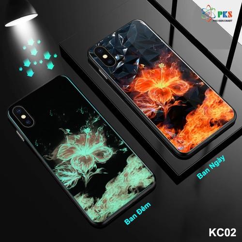 Ốp lưng Iphone X in 3D hình hoa lửa da quang mặt kính cường lực