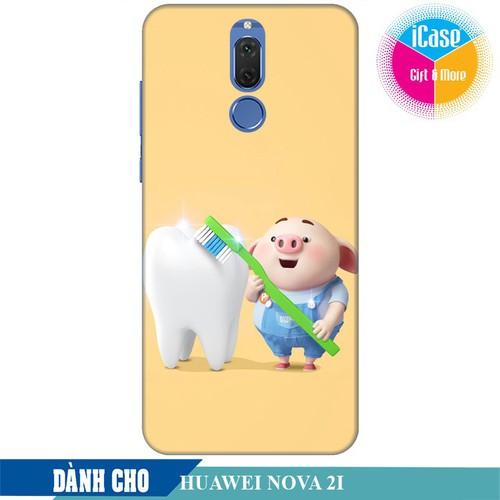 Ốp lưng nhựa cứng nhám dành cho Huawei Nova 2i in hình Heo Con Đánh Răng