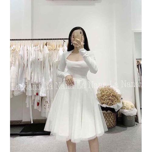 Đầm trắng phối lưới - DKN1609