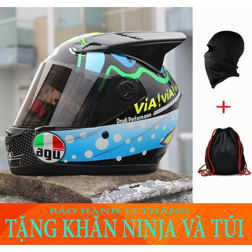 Nón bảo hiểm AGU cá mập gắn sừng tặng khăn ninja và túi đựng
