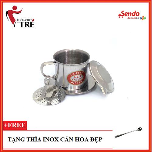 PHIN CAFE INOX QUAI 8 TẶNG THÌA CAFE CÁN HOA