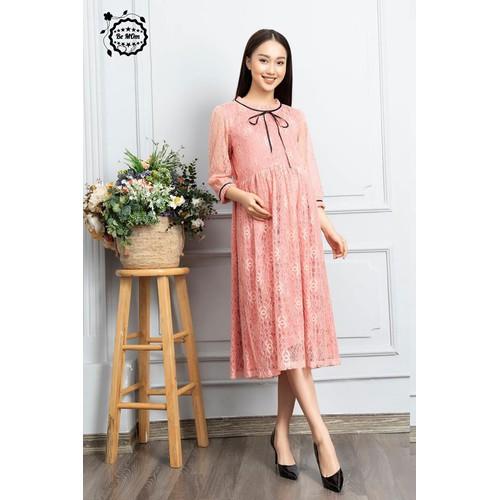 Đầm bầu ren hồng cổ nơ - *0006