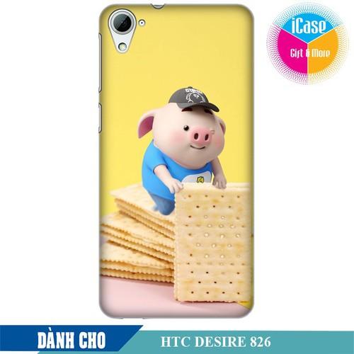 Ốp lưng nhựa cứng nhám dành cho HTC Desire 826 in hình Heo Con Làm Bánh