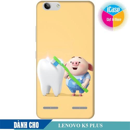 Ốp lưng nhựa cứng nhám dành cho Lenovo K5 Plus in hình Heo Con Đánh Răng