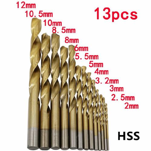 Bộ 13 mũi khoan thép phủ Titanium 2-12mm
