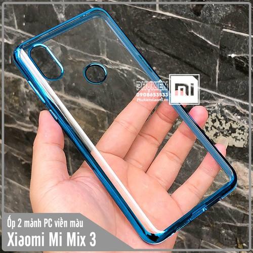 Ốp lưng XM Mi Mix 3 trong viền màu PC 2 Mảnh - trong viền xanh