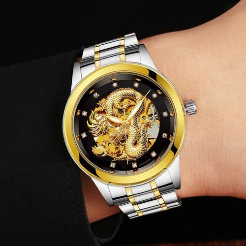Đồng hồ nam máy cơ rồng nổi 3D cao cấp DH8252