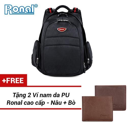 Ba Lô Ronal BL47 - Đen logo niken đỏ tặng 2 ví nam màu nâu + bò