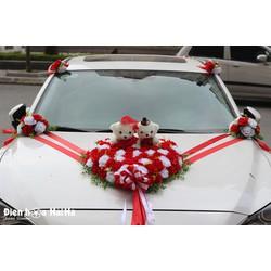 XHG-057 Địa chỉ bán bộ hoa kết xe cưới giá rẻ hồng đỏ hồng trắng.