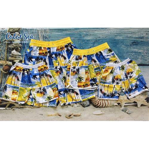 [ HOT ] Quần đôi đi biển dừa vàng nữ, có trẻ em và nam
