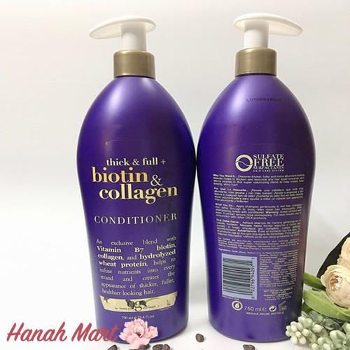 Cặp dầu gội và xả làm dày và mượt tóc Biotin Collagen 750ml