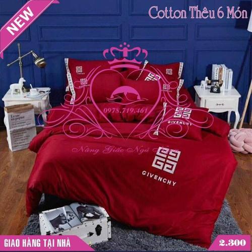 Bộ chăn ga gối đệm cotton thêu 6 món cao cấp mẫu 1