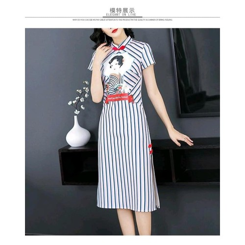 Đầm cổ tàu sọc hình cô gái Geisha hàng nhập