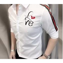 áo sơ mi nam họa tiết LOVE chất lụa