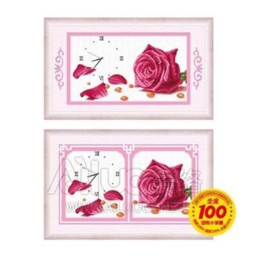 Đồng hồ thêu chữ thập Bộ 2 bức Hoa hồng 24139