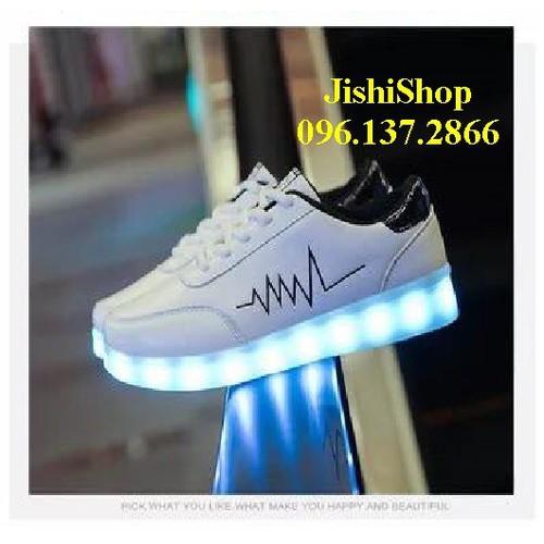 giày phát sáng đèn led 7 màu - nhịp tim trắng