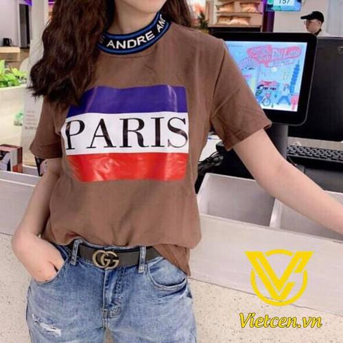 Áo thun nữ in Paris bo chữ thể thao