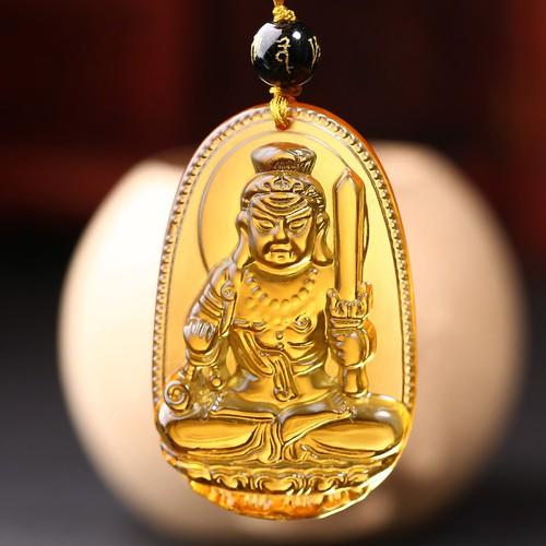 Dây chuyền Phật bản mệnh tuổi Dậu - Vòng cổ Phật Bất Động Minh Vương - Thạch Anh Vàng