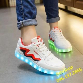 Giày phát sáng đèn led 7 màu - lượn sóng đỏ đen - lượn sóng đỏ đen thumbnail