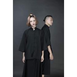 Set Áo Shanghai Cổ Trụ Kèm Quần Culottes Form Rộng Unisex Nam Nữ - Đen Trơn