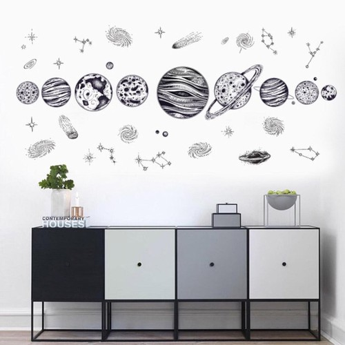 decal dán tường mẫu hành tinh vũ trụ cho bé học hỏi trang trí