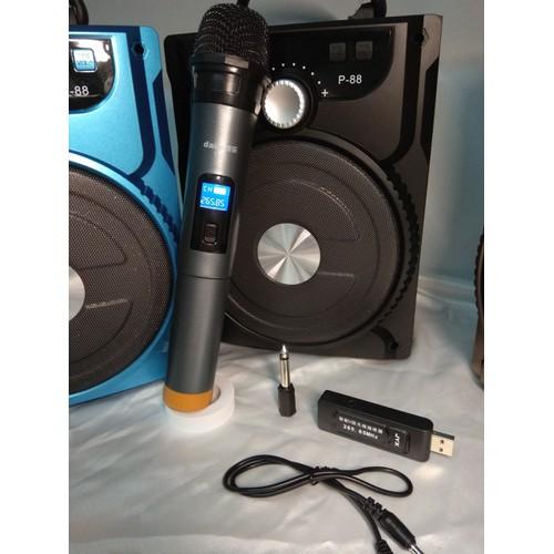 Loa karaoke bluetooth xách tay + 1 Mic không dây chính hãng hút âm siêu to