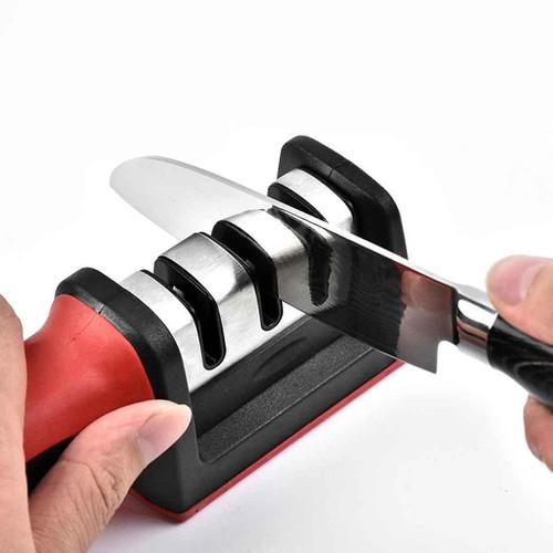 Dụng cụ mài dao 3 lưỡi có tay cầm an toàn tiện dụng cho nhà bếp