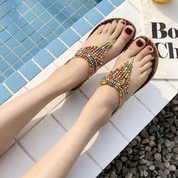 Giày sandal nữ đế bệt phối hột màu