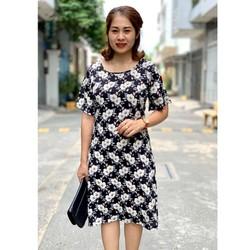 Đầm trung niên công sở big size hoa đôi