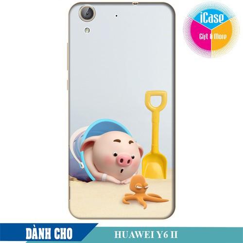 Ốp lưng nhựa cứng nhám dành cho Huawei Y6 II in hình Heo Con Nghịch Cát