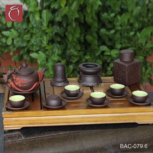 Bộ ấm chén tử sa đen đắp nổi hoa Đào đỏ và phụ kiện - kèm khay cao cấp gốm sứ Bảo Khánh Bát Tràng - bộ bình uống trà cao cấp - 6665603 , 16702224 , 15_16702224 , 1510000 , Bo-am-chen-tu-sa-den-dap-noi-hoa-Dao-do-va-phu-kien-kem-khay-cao-cap-gom-su-Bao-Khanh-Bat-Trang-bo-binh-uong-tra-cao-cap-15_16702224 , sendo.vn , Bộ ấm chén tử sa đen đắp nổi hoa Đào đỏ và phụ kiện - kèm k
