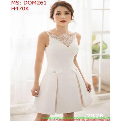 Đầm dự tiệc 2 dây trắng phối ren xinh đẹp DOM261