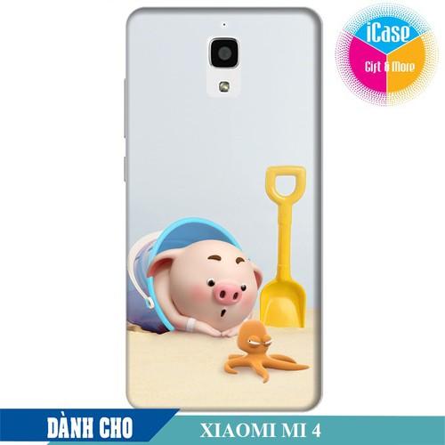 Ốp lưng nhựa cứng nhám dành cho Xiaomi Mi 4 in hình Heo Con Nghịch Cát