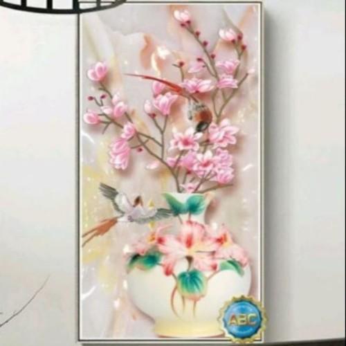 Tranh đính đá bình hoa tuyệt đẹp 55x90cm - 6687961 , 16719307 , 15_16719307 , 245000 , Tranh-dinh-da-binh-hoa-tuyet-dep-55x90cm-15_16719307 , sendo.vn , Tranh đính đá bình hoa tuyệt đẹp 55x90cm