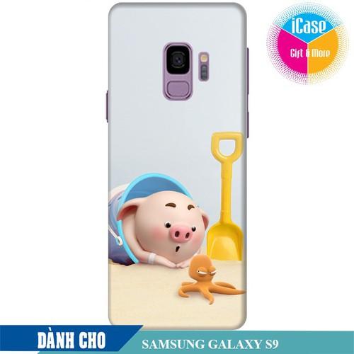 Ốp lưng nhựa cứng nhám dành cho Samsung Galaxy S9 in hình Heo Con Nghịch Cát