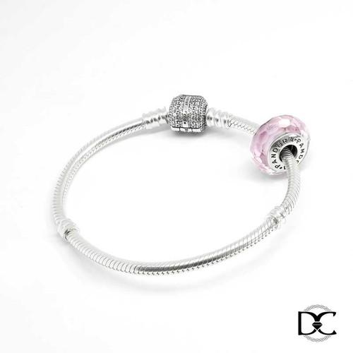 Vòng tay nữ DazzyCharm hồng ngọc khóa hạt