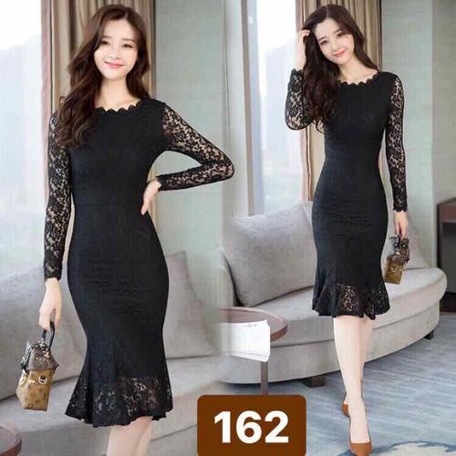 Đầm body ren tay dài - Có size M L XL 2XL đến 72kg