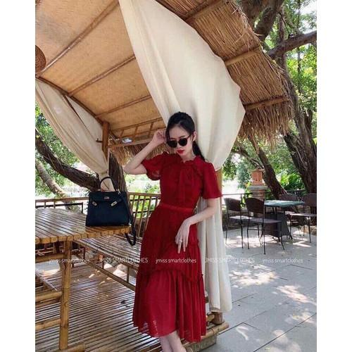 đầm vintage đỏ