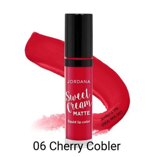 Auth- Son Kem lì Sweet Cream Matte Jordana Usa màu 06 Cherry Cobler