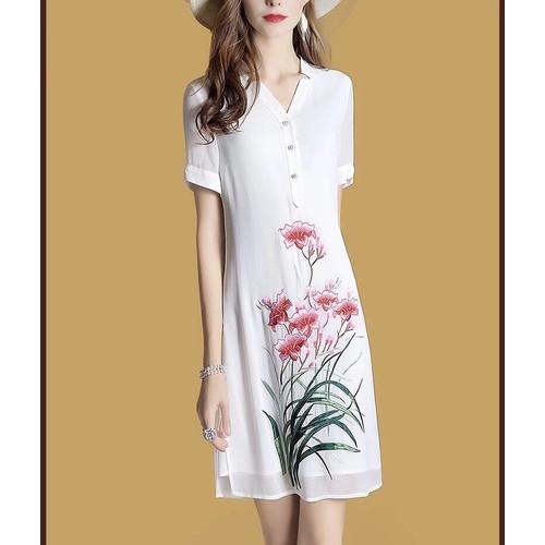 Đầm suông in hoa cao cấp D353