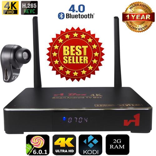 Android Tivi Box V1 4K Ultra HD RAM 2GB hỗ trợ Bluetooth 4.0 kèm Tai Nghe Bluetooth S530 Plus